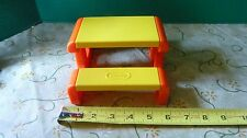VINTAGE LITTLE TIKES DOLLHOUSE PICNIC TABLE - ORANGE & YELLOW