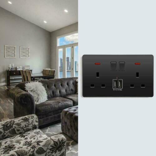 Double Wall Plug Socket 2 Gang 13A w// 2USB Charger Black Plate Home Outlet P7P7