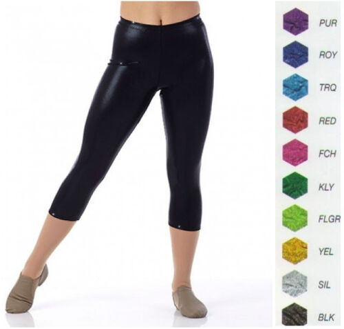 Dance Team Costume Foil Spandex CAPRI Yoga PANTS Color Choices Child and Adult