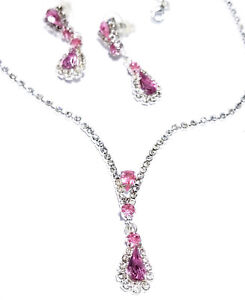 Rhinestone-Choker-Necklace-Earring-Set-Bridal-Prom-Jewelry-Pageant-Crystal-Pink