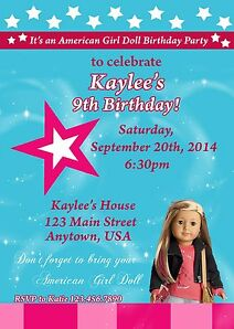 american girl birthday banners, Birthday invitations