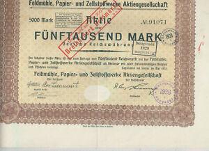 Feldmuehle-Papier-und-Zellstoffwerke-AG-Scholwin-bei-Stettin-1923-5000-M