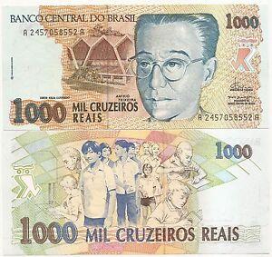 Brazil P-240 1000 Cruzeiros Reais Year ND 1993 Uncirculated Banknote