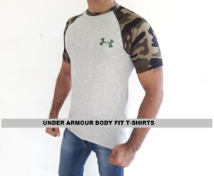 Under-Armour-Camo-T-Shirts-Mens-Short-Sleeve-Body-Fit-Crew-Neck-Export-Quality
