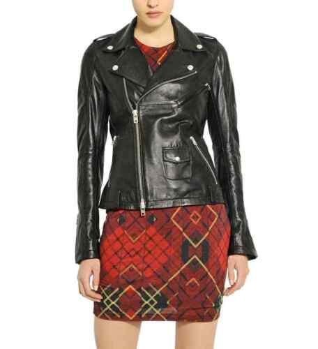 New Jacket Biker Leather Women's Lambskin Genuine Wj27 Motorcycle 1Byr1qOw