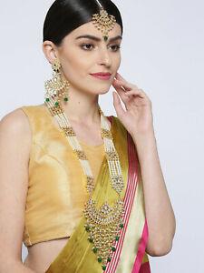 Indian Bollywood Gold Plated Green Long Rani Haar Kundan Necklace /& Earrings Set