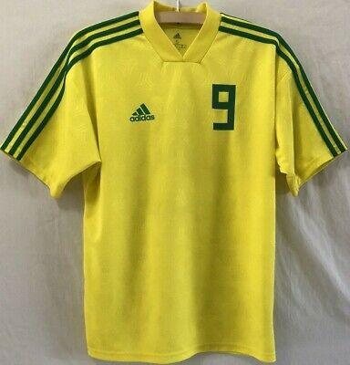 Adidas Tanip Icon Brazil Soccer Jersey # 9 Yellow And Green Climalite 3 Stripe | eBay