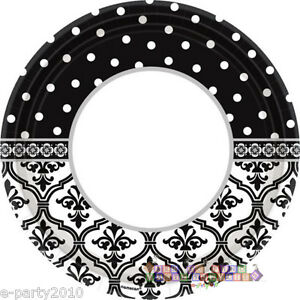 Image is loading ENGAGEMENT-PARTY-Damask-and-Dots-LARGE-PAPER-PLATES-  sc 1 st  eBay & ENGAGEMENT PARTY Damask and Dots LARGE PAPER PLATES (18) ~ Wedding ...