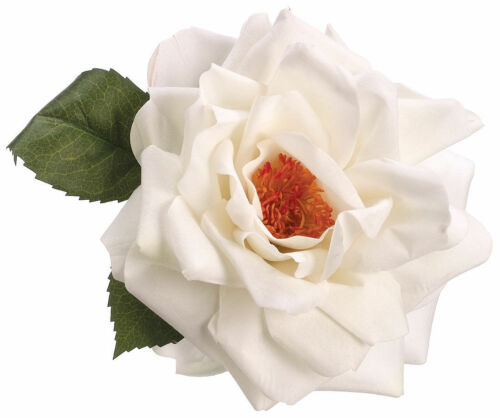 VELVET OPEN ROSE ARTIFICIAL FLOWER HAIR CLIP//PIN BROOCH