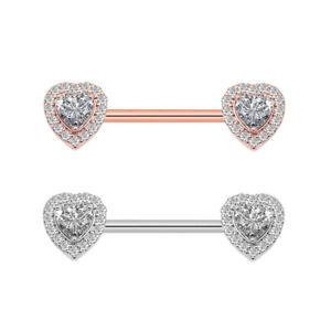 2 Pc Nipple Bar Ring Stainless Steel Cz Heart Nipple Rings Body Piercing Jewelry Ebay