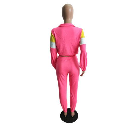 Women Colors Patchwork Zipper Casual Sports Club Jumpsuit Tracksuit Pant Set 2pc