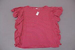 Gap-Women-039-s-Stripe-Flutter-Sleeve-Knit-Top-SV3-Pink-Size-XL-Tall-NWT