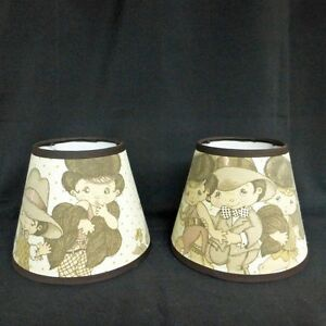 Wide-Eyed-Kids-Custom-Made-Fabric-Handcrafted-Lamp-Shade-6-x-10-x-8-Vintage-Look