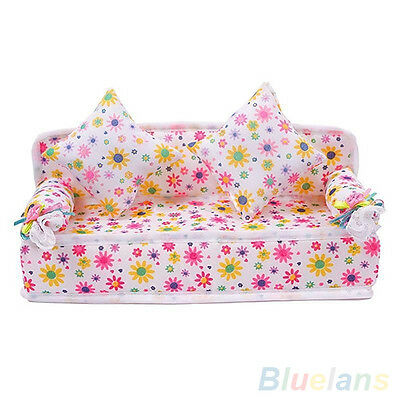 Lovely Mini Furniture Flower Sofa Couch With 2 Cushions For Doll House Hot Sale!