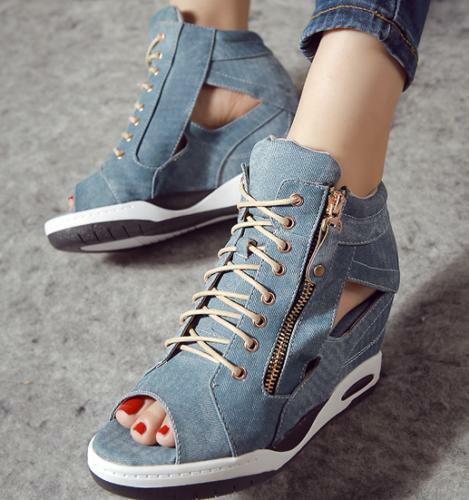Womens High Hidden Wedge Denim Sneaker Hollow Open Toe Lace Up Zip Creeper shoes