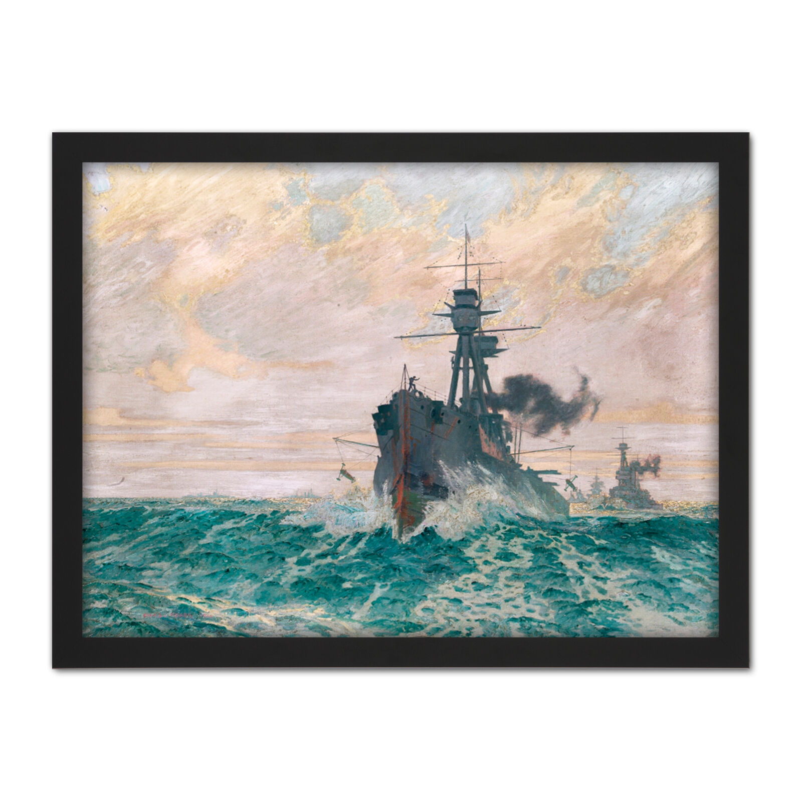 Pears Warship Streaming Mines WWI War Painting Framed Wall Art Print 18X24 In