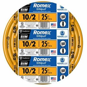 NEW 25/' 10//2 W//GROUND NM-B ROMEX HOUSE WIRE//CABLE