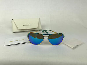 676834fd04f7 Michael Kors Women MK1012 Gold & Turquoise Metal Mirrored Sunglasses ...