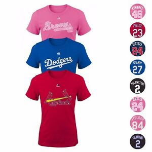 MLB-Majestic-Player-Name-amp-Number-Jersey-T-Shirt-Collection-Girl-039-s-Size-7-16