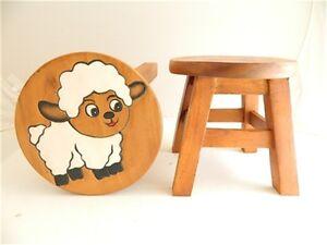 Childs childrens wooden stool white sheep step stool ebay