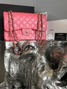 ee4a74d292cb NWT CHANEL 2018 18S PINK CAVIAR JUMBO Classic Double Flap NEW Gold ...