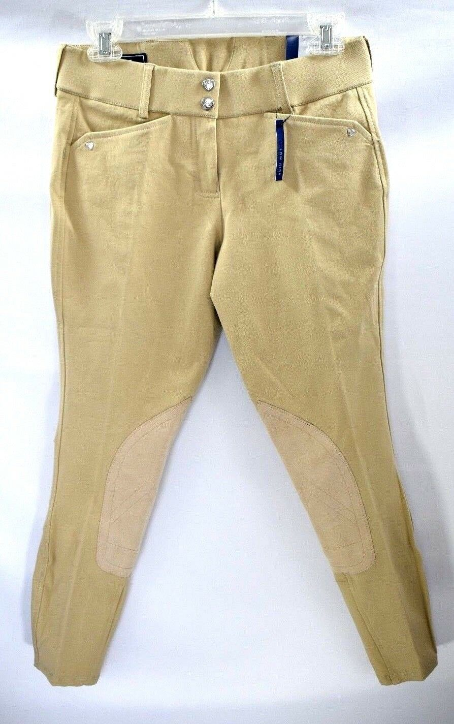 New Ariat Heritage Low Rise Front Zip Tan Breeches Equestrian Sz 26R  94.95