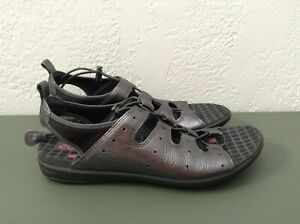 Ecco-Womens-Sandals-Jab-Toggle-Adjust-Leather-Gray-Sz-41-10-10-5-EUC-Worn-Once