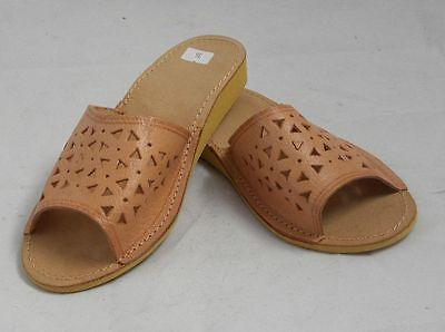 Hausschuhe Damen Latschen Pantoffeln -Natur- vorn offen ***NEU***