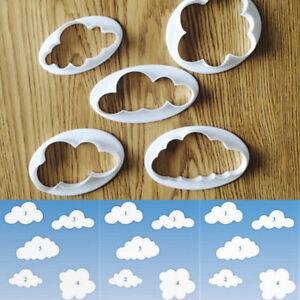 Plastic Cake Decorating Tools 5pcs Cloud Fondant Cutter Cake Mold Moulds Fondant