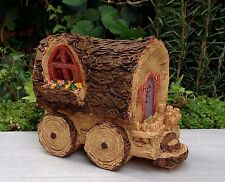 Miniature Dollhouse FAIRY GARDEN ~ Wood Look Wagon House Cottage ~ NEW