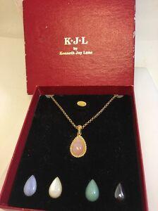 K-J-L-By-Kenneth-Jay-Lane-Interchangeable-Stone-Pendant-Necklace-Orig-Box