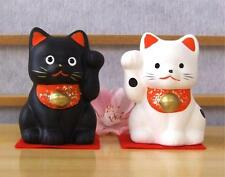 Maneki Neko Lucky Feng Shui pair black & white cats a1 & a2