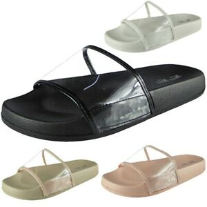 4a75fbf75 Image is loading Womens-Ladies-Comfy-Plain-Rubber-Clear-Sliders-Flats-