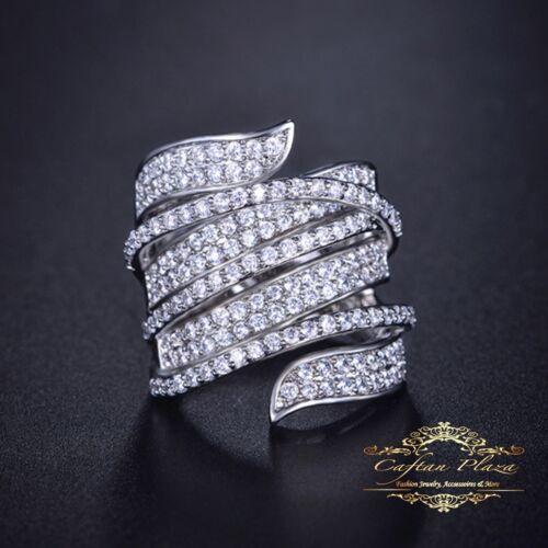 única muy noble Anillo de señora XXL Pave ring 18k weissgold PLT cubic circonita AAA
