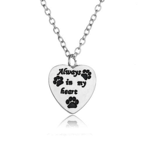 Cute Paw Print Silver Women Heart Necklace Choker Chain Pendant Jewelry Gifts