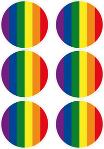 6-X-GAY-PRIDE-ROUND-CAR-VAN-LORRY-VINYL-SELF-ADHESIVE-STICKERS-5-Cm
