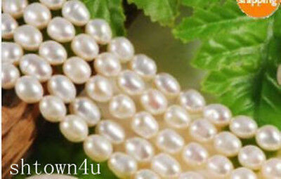 6-7MM White Akoya Freshwater Pearl Loose Beads 14""