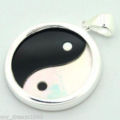 20mm Round Yin Yang Pendant White Shell&Black Agate &925 Sterling Silver Pendant