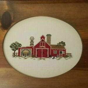 Red Barn Cross Stitch Oval Insert Vintage Wood Serving Tray Glass Handles Farm