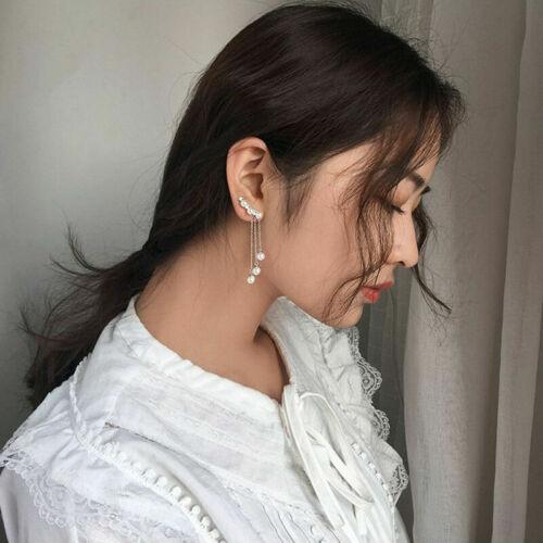 Earrings Cuff Pearl Tassel Crawler Dangle Ear Climber 1 Pair Drop Simulated