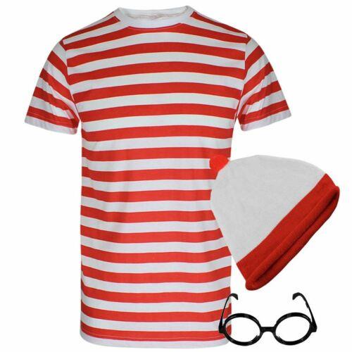 Rosso e Bianco a Strisce T Shirt Occhiali Cappello Set Costume Settimana Libro Da Uomo Giorno