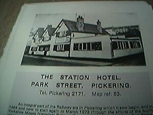 book item  1970s  1 page  the station hotel park street pickering - Leicester, United Kingdom - book item  1970s  1 page  the station hotel park street pickering - Leicester, United Kingdom