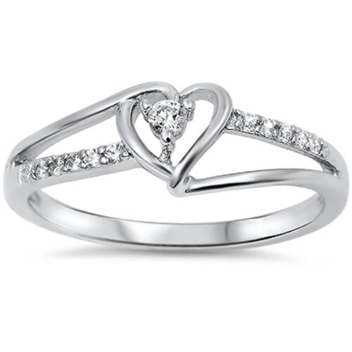 Cute Cz Heart .925 Sterling Silver Ring Sizes 3-12