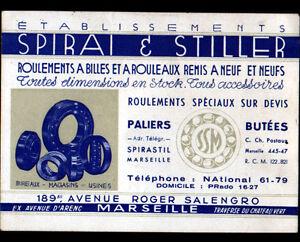 MARSEILLE-13-USINE-de-ROULEMENTS-a-BILLES-034-SPIRAI-amp-STILLER-034-Carte-de-visite