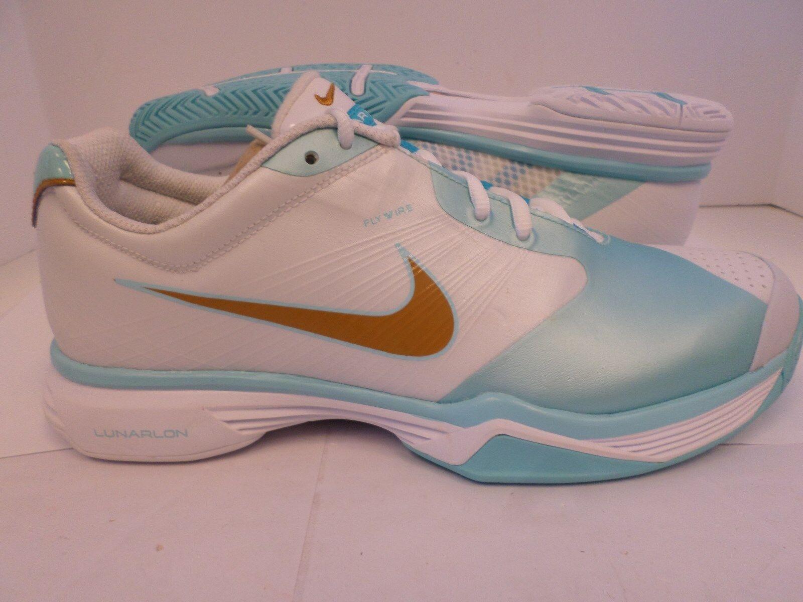 New Nike Women's Lunar Speed 3 Tennis Shoes White/Light Blue/Gold 429999-102