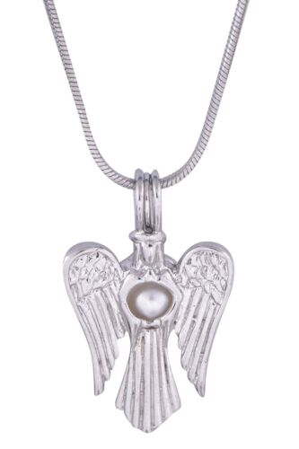 Angel Silver Plated Pearl Cage Pendant Akoya Oyster Pearl 20 Inches Chain Gifts