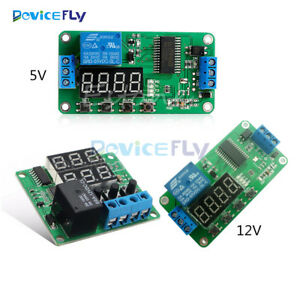 Details about DC 5V 12V Multifunction Self-lock Relay PLC Cycle Timer on