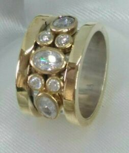 AAA-QUALITY-STERLING-925-SILVER-HANDCRAFT-JEWELRY-TOP-RICH-WHITE-TOPAZ-BAND-RING