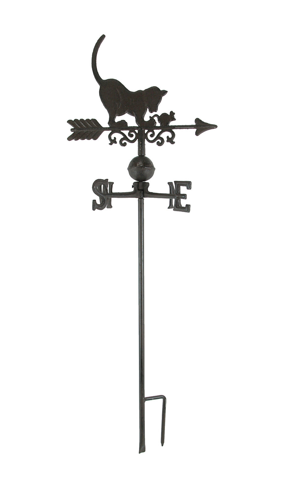 Cast Iron Cat and Mouse Weathervane Lawn Decoration Garden Stake