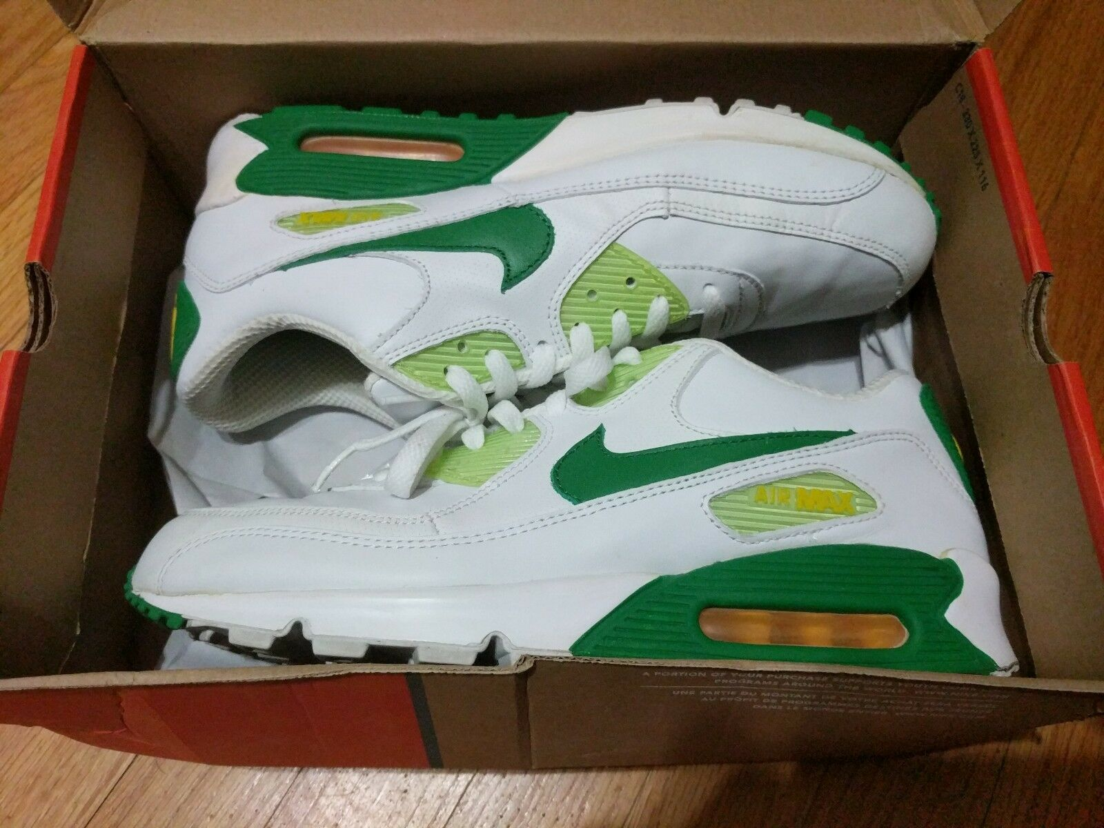 Nike AIR MAX 90 Size 10.5 White Green Yellow rare vintage near deadstock Oregon
